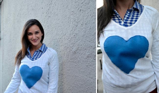 DIY Heart J crew Sweater